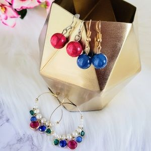 Bundle of 3 earring sets. Pink blue gold & pearl